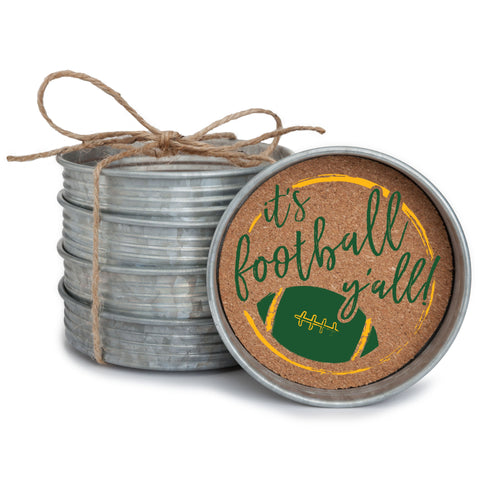 "Set of 4 galvanized metal mason jar lid with cork insert coasters with the quote ""It's Football, Y'all!"" in green and yellow."