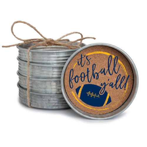 "Set of 4 galvanized metal mason jar lid with cork insert coasters with the quote ""It's Football, Y'all!"" in navy blue and yellow."