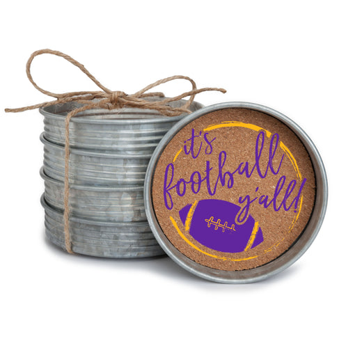 "Set of 4 galvanized metal mason jar lid with cork insert coasters with the quote ""It's Football, Y'all!"" in purple and yellow."