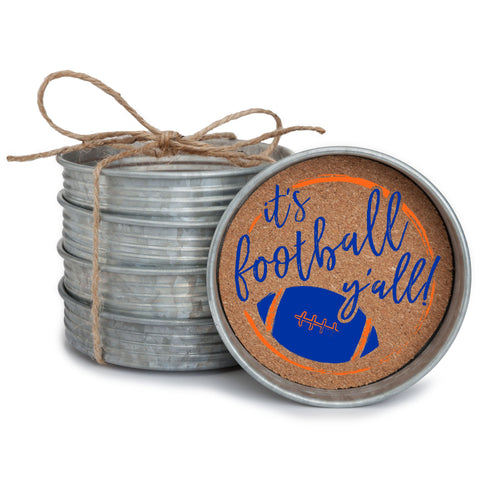 "Set of 4 galvanized metal mason jar lid with cork insert coasters with the quote ""It's Football, Y'all!"" in royal blue and orange."