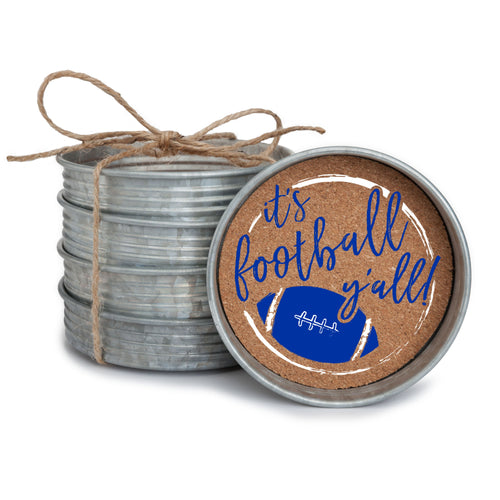 "Set of 4 galvanized metal mason jar lid with cork insert coasters with the quote ""It's Football, Y'all!"" in royal blue and white."