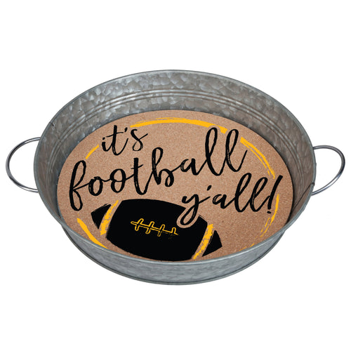 "Galvanized metal serving tray with cork insert with the quote ""It's Football, Y'all!"" in black and yellow."