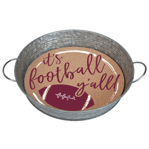 "Galvanized metal serving tray with cork insert with the quote ""It's Football, Y'all!"" in maroon and white."