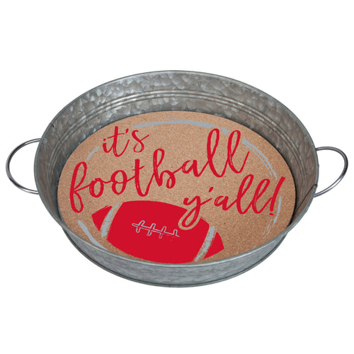 "Galvanized metal serving tray with cork insert with the quote ""It's Football, Y'all!"" in red and grey."
