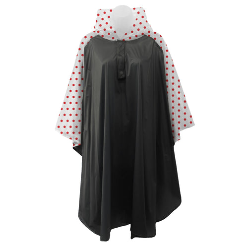 Black rain poncho with frosted sleeves and hood embellished with red polka dots, comes with small carrying pouch.