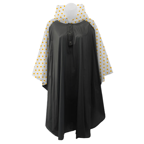 Black rain poncho with frosted sleeves and hood embellished with yellow polka dots, comes with small carrying pouch.