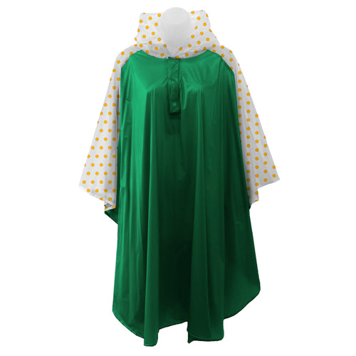 Green rain poncho with frosted sleeves and hood embellished with yellow polka dots, comes with small carrying pouch.