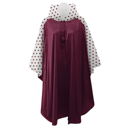 Maroon rain poncho with frosted sleeves and hood embellished with maroon polka dots, comes with small carrying pouch.