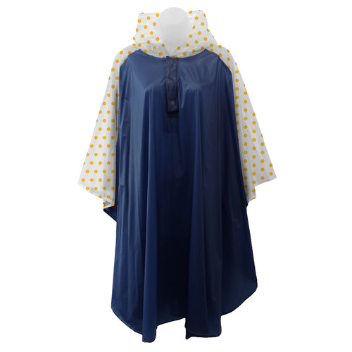 Navy Blue rain poncho with frosted sleeves and hood embellished with yellow polka dots, comes with small carrying pouch.