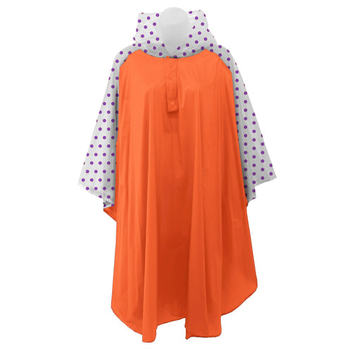 Orange rain poncho with frosted sleeves and hood embellished with purple polka dots, comes with small carrying pouch.