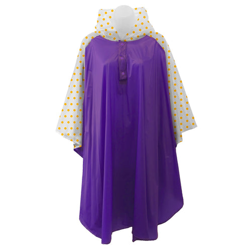 Purple rain poncho with frosted sleeves and hood embellished with yellow polka dots, comes with small carrying pouch.