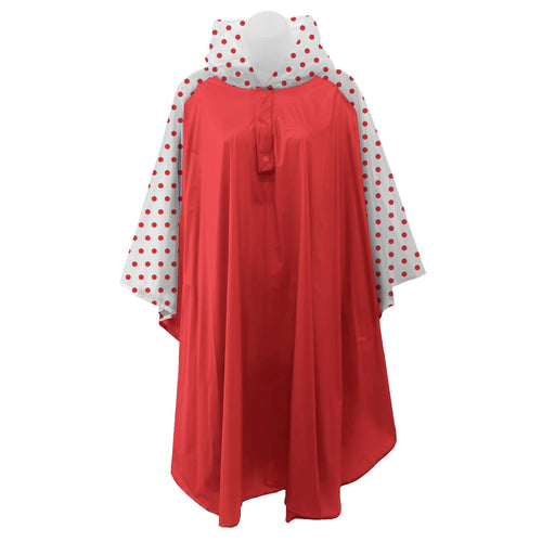 Red rain poncho with frosted sleeves and hood embellished with grey polka dots, comes with small carrying pouch.