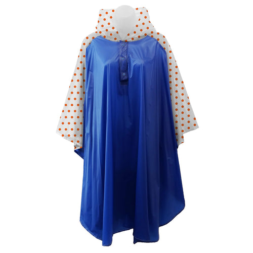 Royal Blue rain poncho with frosted sleeves and hood embellished with orange polka dots, comes with small carrying pouch.