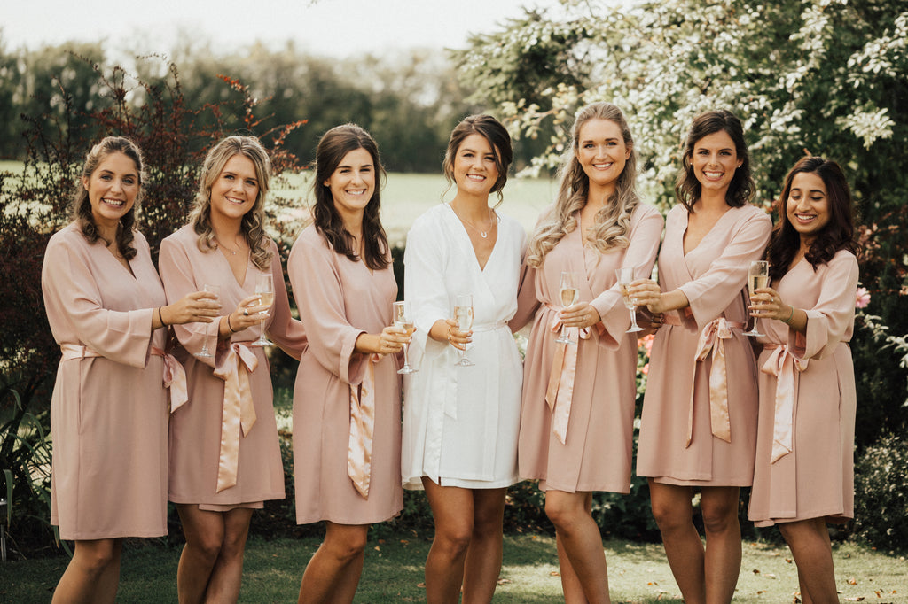 bridesmaid robes- bride to be - getting ready on morning of wedding