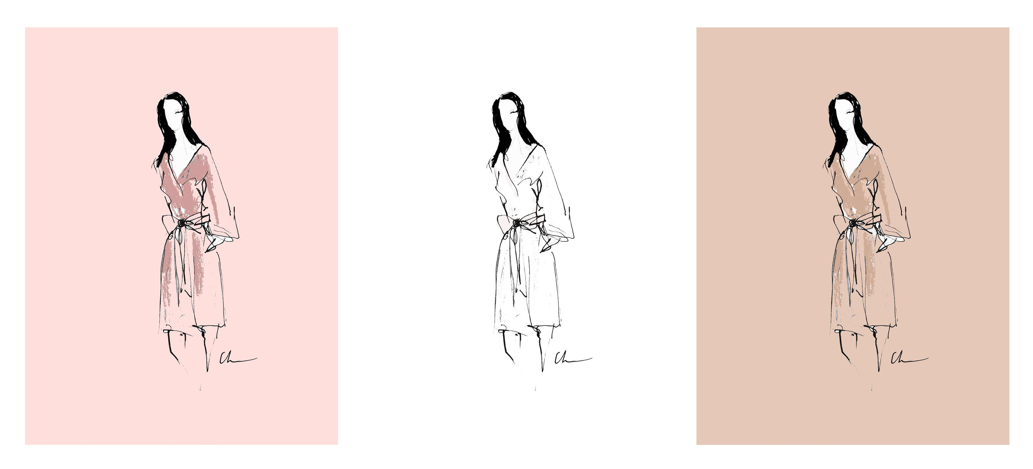 bridesmaid robe illustration - georgina keeley - charley herman