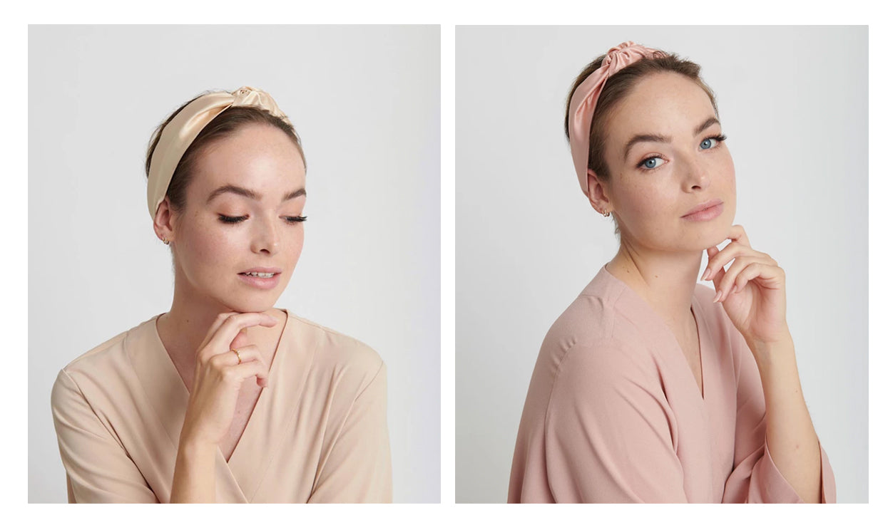 luxury rose pink and nude champagne headbands