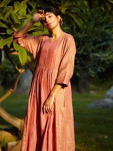 ROSEWOOD GOLD GATHERED TUNIC