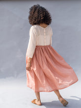 PEACH TWO TONE EMBROIDERED DAY DRESS