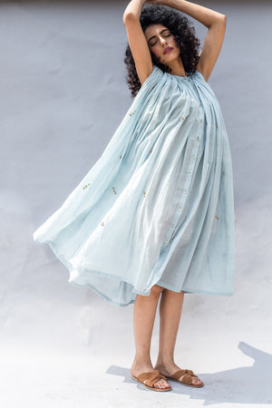 Powder Blue Handwoven Cotton Silk Embroidered Dress
