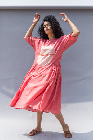 Peach Clamp Dyed Sun Handwoven Cotton Silk Dress