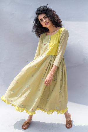 Olive Green Ditsy Floral Embroidered Maxi Handwoven Cotton Silk Dress