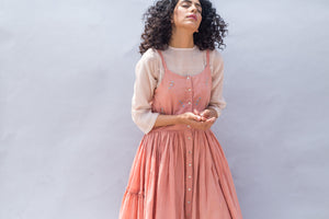 Embroidered Peach Gathered Strappy Handwoven Cotton Silk Dress