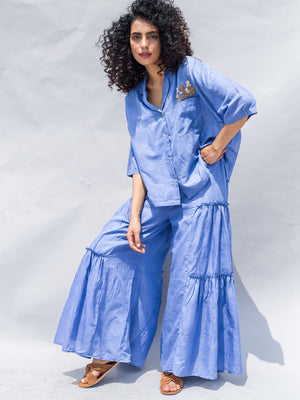 Blue Handwoven Cotton Silk Embroidered Crop Shirt