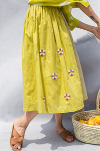 TWO TONE LIME EMBROIDERED SKIRT