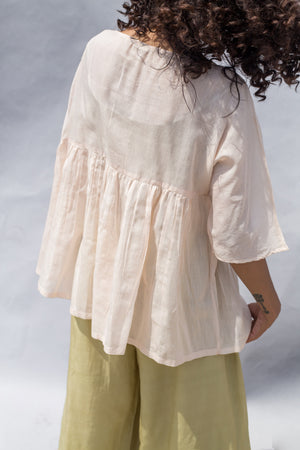 Peach Hand Embroidered Handwoven Cotton Silk Top