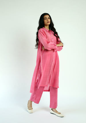 High Slit handwoven Chanderi Tunic Set (Set of 2)