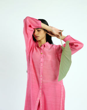 Pink High Slit Handwoven Cotton Silk Chanderi Tunic