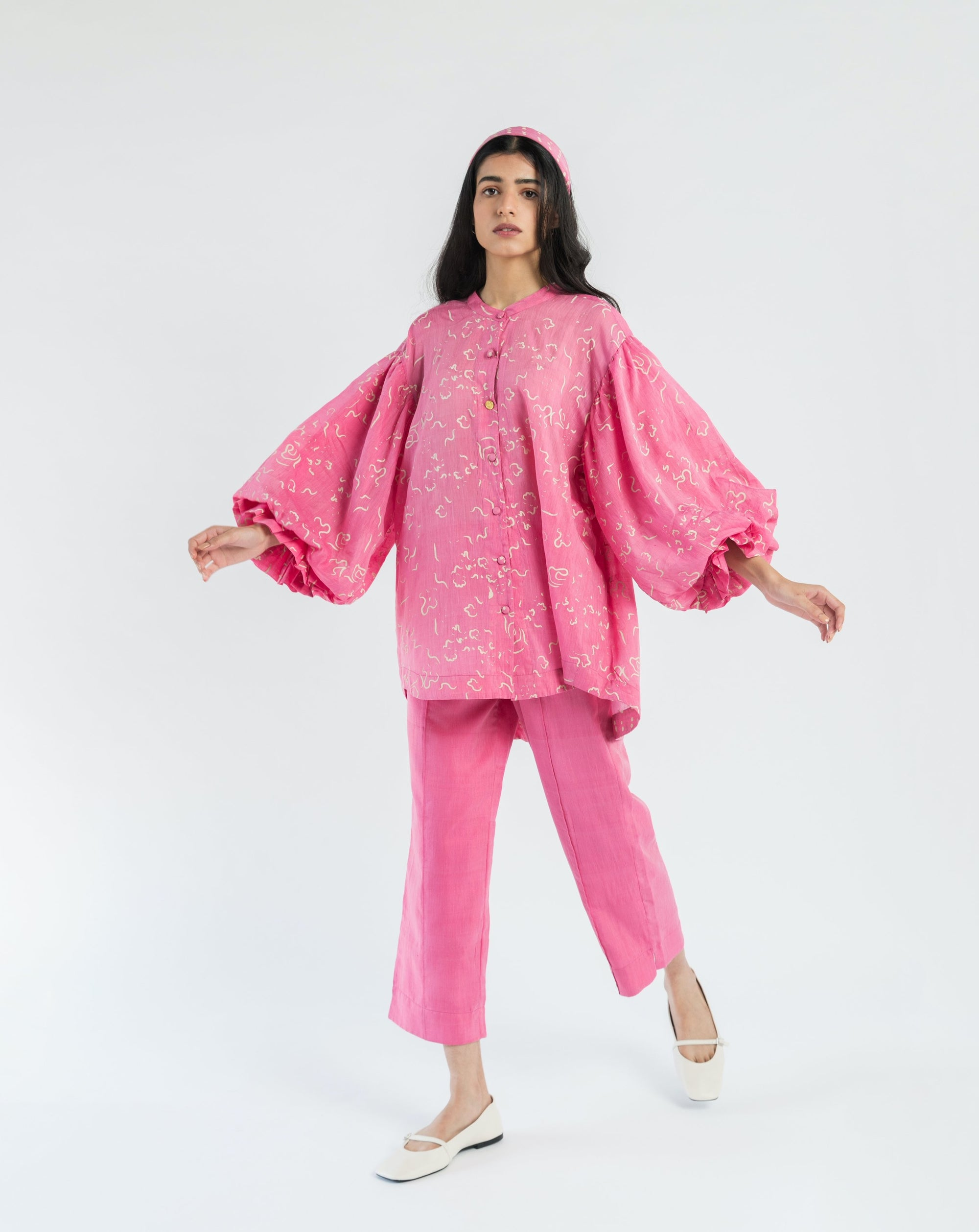 Floral Pink handwoven cotton silk Co-ord (Set of 2 )