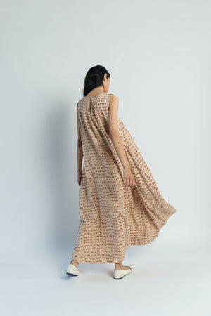 Beige A-Line handwoven cotton silk Dress