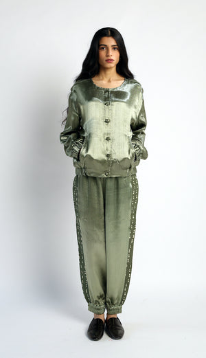 Bomber handwoven silk Jacket Co-ord (Set of2)