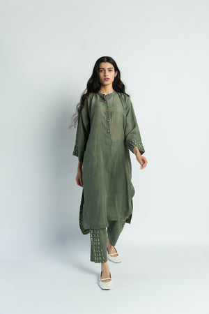 U-Shape Olive Tunic Handwoven Cotton Silk Co-ord (Set of 2)