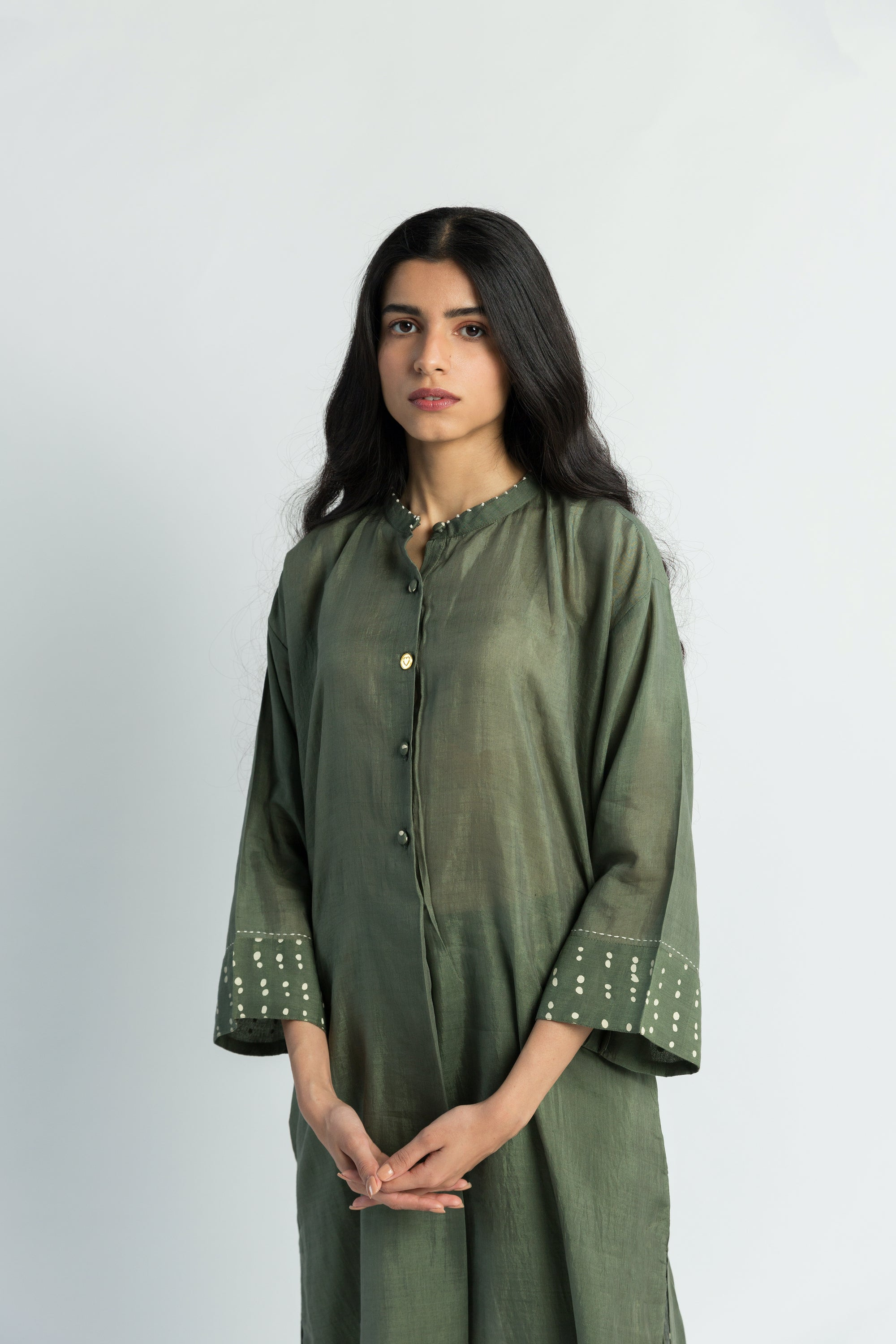 Olive U Shaped Handwoven Cotton Silk Tunic