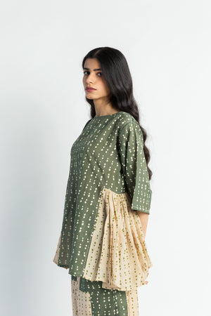 Sun Top Olive Beige Handwoven Cotton Silk