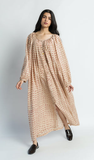 Beige Polka Neck Gathered handwoven cotton silk Dress