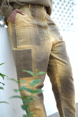 Check Mix Big Pockets Handwoven Cotton Linen Pants