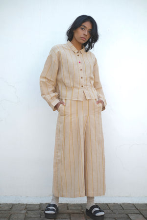 Desert Stone Pleated Skirt Handwoven Cotton Linen Pants