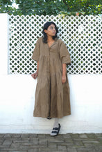 TONED OLIVE CHECKS TIER DRESS