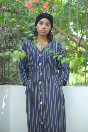 Stormy Sky Waist Pleated Handwoven Cotton Linen Dress