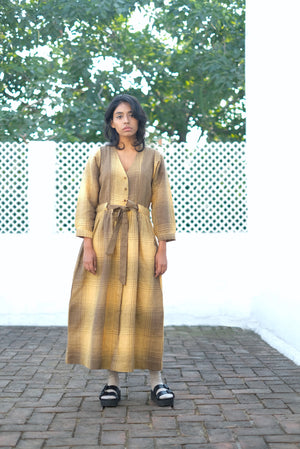 Toned Olive Checks Mix Handwoven Cotton Linen Dress
