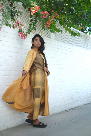 Sungold Layer Up Handwoven Cotton Linen Dress