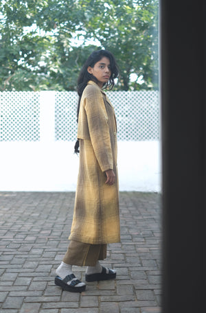 Toned Olive Handwoven Cotton Linen Trench Coat