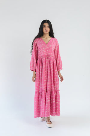 Tiered Pink Polka Handwoven Cotton Silk Dress