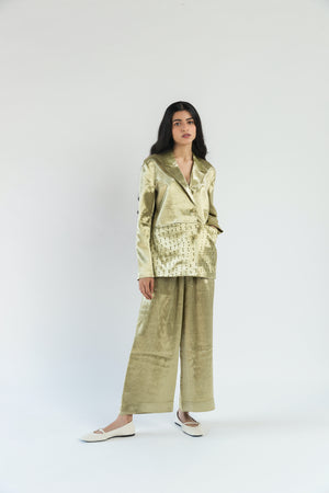 Lime Short Tailored Handwoven Cotton Silk Jacket Co-ord (Set of 2)