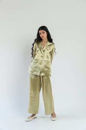 Short Tailored Mashru Handwoven Cotton Silk Jacket