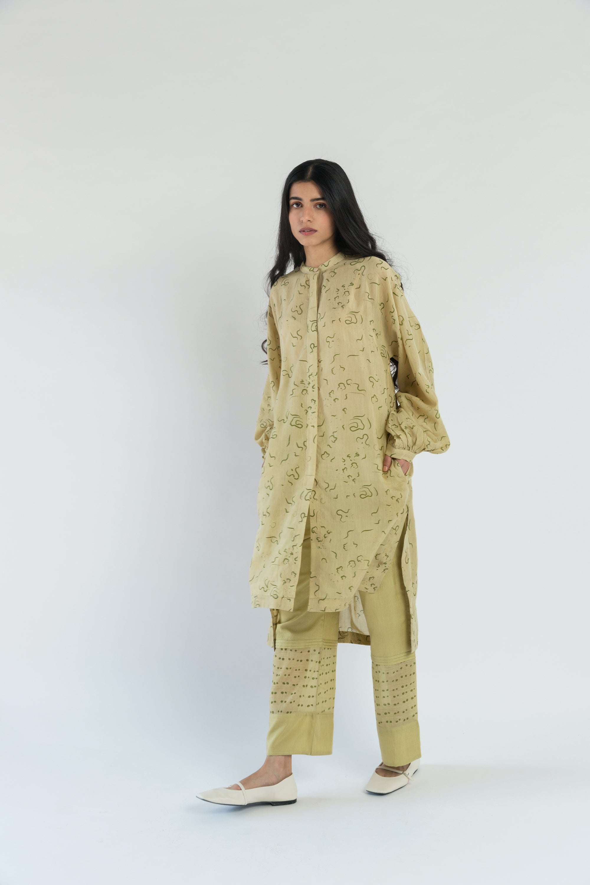 Lime Floral Handwoven cotton silk Tunic