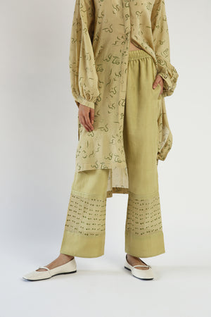 Lime Handwoven cotton Silk Panelled Pants